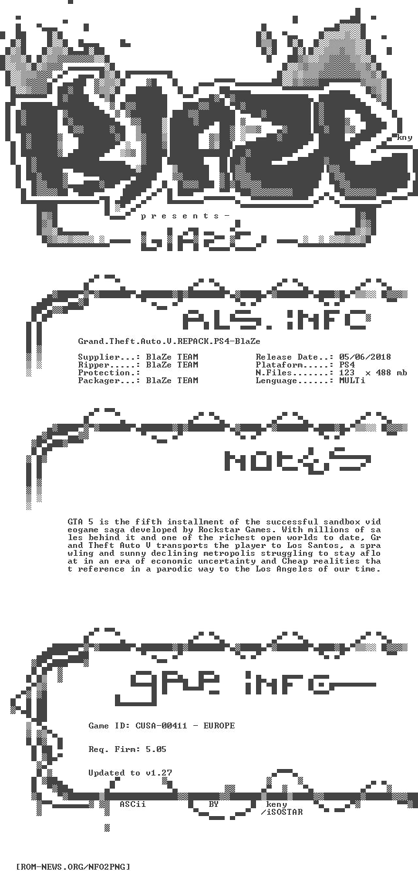 ROM-NEWS/PS4 | NFO (Grand Theft Auto V REPACK PS4-BlaZe)