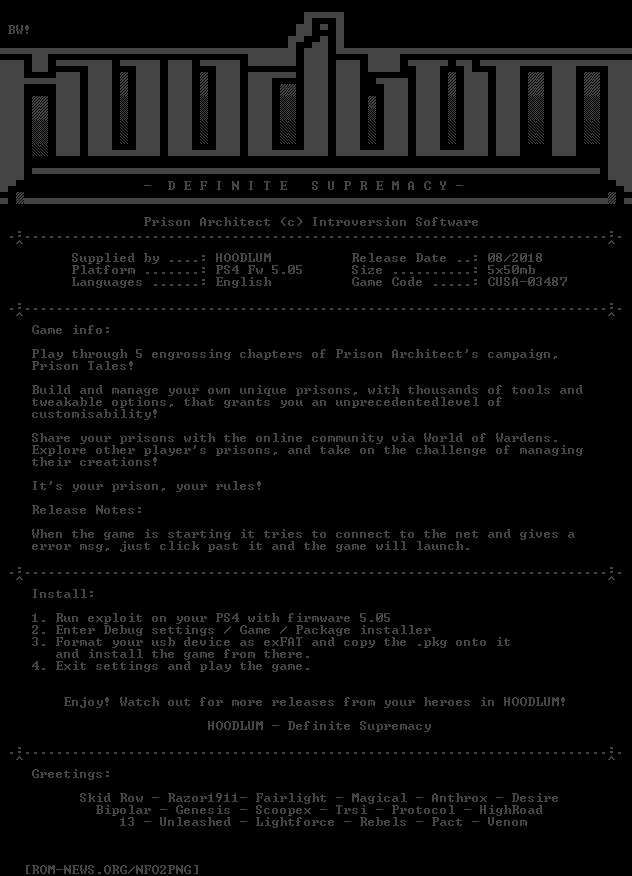 ROM-NEWS/PS4 | NFO (Prison_Architect_PS4-HOODLUM)