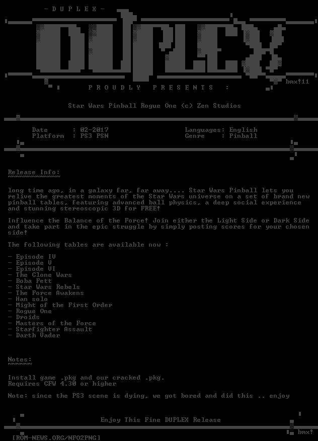 ROM-NEWS/PS3 | NFO (Star Wars Rogue One Pinball PSN PS3-DUPLEX)